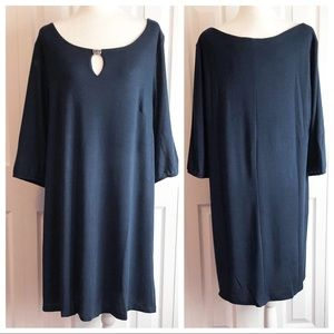 NWT Delirious Blue 3/4 Sleeve Sweater Dress 3X